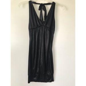 Little black dress LBD halter backless shiny mini